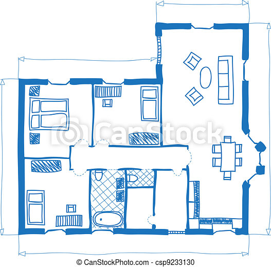 Illustration of floor plan of house, doodle style vector clipart ...