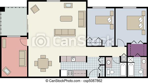 Floor Plan Of Two Bedroom Condo Vector