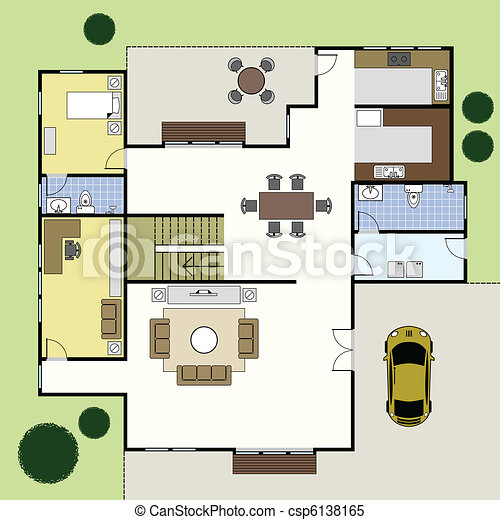 Floorplan architecture plan house ground floor clipart vector floorplan architecture plan house csp6138165 malvernweather Gallery