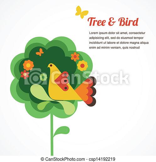 Flor Whimsy y pájaro - csp14192219