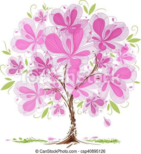 Flor árvore Desenho Desenho Branca árvore Fundo Florescer