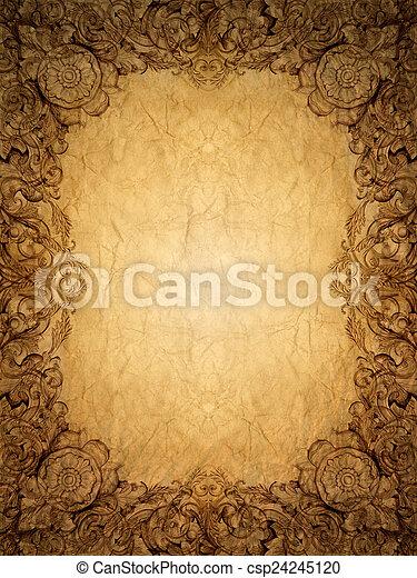 flor, antigas, ouro, vindima, quadro, ornamento, paperbackground - csp24245120