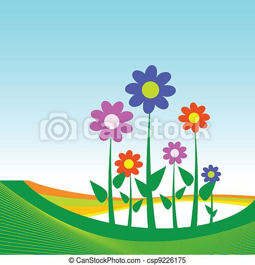 Una ilustración de flores en el fondo azul - csp9226175