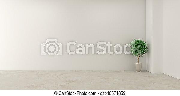 Habitación blanca vacía y flor - csp40571859