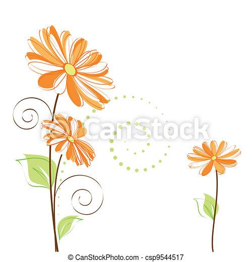 flor, colorido, primavera, plano de fondo, margarita, blanco - csp9544517