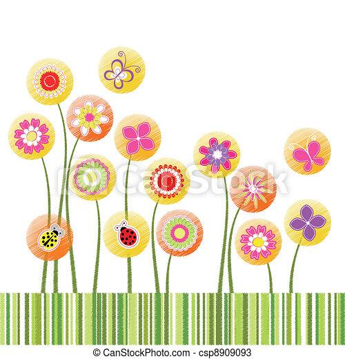flor, colorido, resumen, saludo, primavera, tarjeta - csp8909093