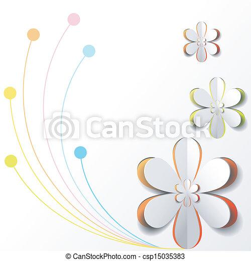 flor, coloridos, papel, desenho, fundo, branca, cartão - csp15035383