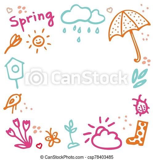flor, corazones, vector, primavera, paraguas, lluvioso, gumboot, diseño, birdhouse, brote, frame., doodles, bicho, inscripción, elementos, nube, mariposa, conjunto, sol, primavera - csp78403485