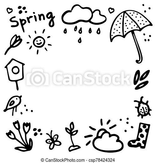 flor, corazones, vector, primavera, paraguas, lluvioso, gumboot, diseño, birdhouse, brote, frame., doodles, bicho, inscripción, elementos, nube, mariposa, conjunto, sol, primavera - csp78424324