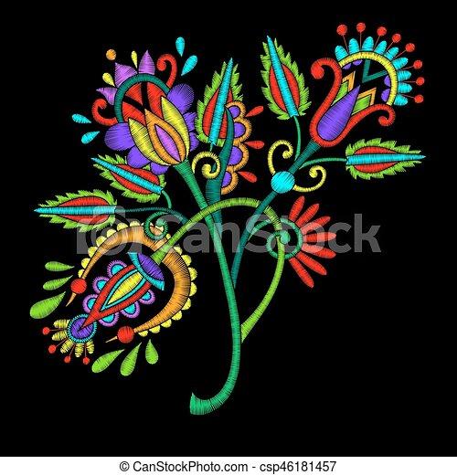 Flor Fundo Desenho Bordado Preto Etnico Flor Ornamento