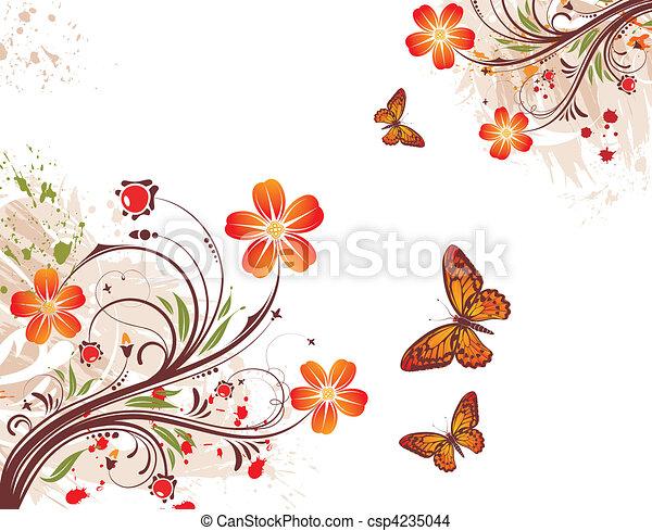 flor, grunge, plano de fondo - csp4235044
