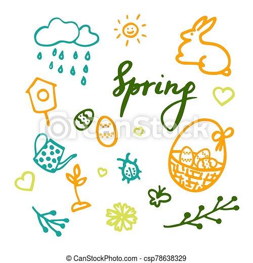 flor, huevos, pascua, primavera, bicho, inscripción, vector, elementos, conjunto, lluvioso, tetera, diseño, sol, birdhouse, corazones, brote, nube, cesta - csp78638329