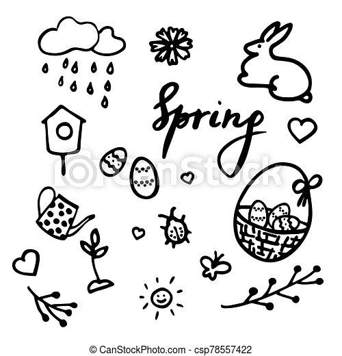 flor, huevos, vector, primavera, lluvioso, doodles., corazones, pascua, diseño, birdhouse, brote, cesta, bicho, inscripción, elementos, tetera, nube, conjunto, sol, primavera - csp78557422