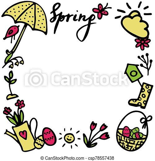 flor, huevos, vector, primavera, maceta, paraguas, pascua, diseño, birdhouse, brote, cesta, frame., doodles, gumboots, pájaro, inscripción, elementos, mariposa, conjunto, sol, primavera - csp78557438