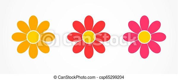Flores iconos margaritas. - csp65299204