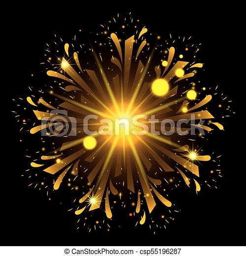 Fuegos artificiales estallando en forma de flor con destellos amarillos en el fondo negro - csp55196287