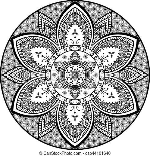 Flor Oriental Padrao Tribal Vetorial Desenho Arabescos