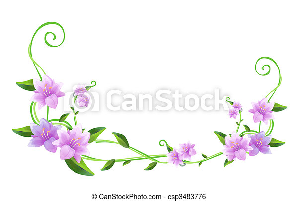 Flor púrpura y viñas verdes - csp3483776