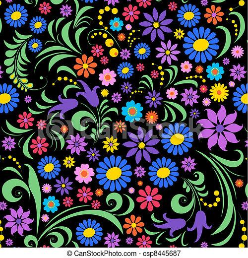 flor, pretas, coloridos, fundo - csp8445687