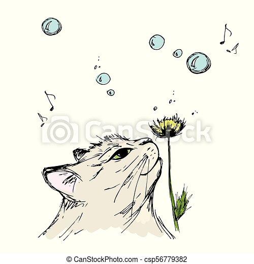 Gato Olfateando Una Flor Dibujando A Mano De Resorte En Un