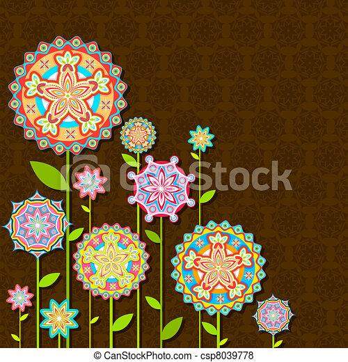flor, retro, colorido - csp8039778