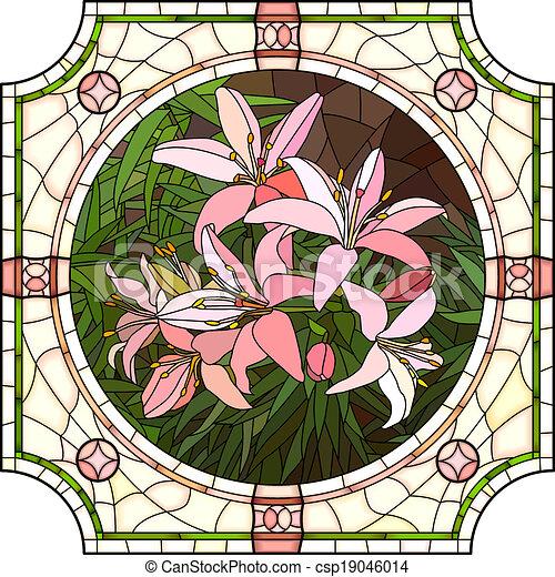 Mosaico de lirios rosas. - csp19046014