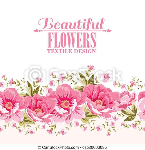Ornata decoración de flores rosadas con etiqueta de texto. - csp20003035
