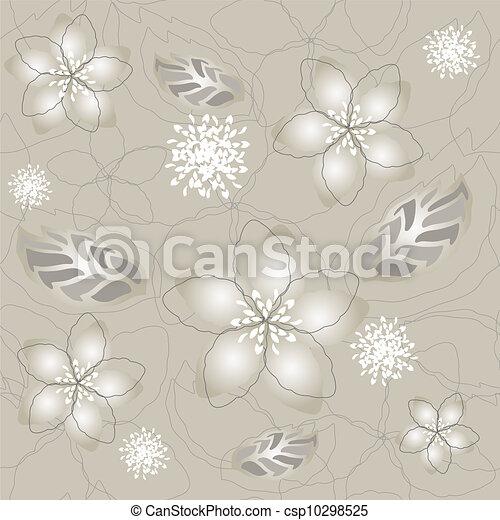 Papel de flores de plata sin costura - csp10298525