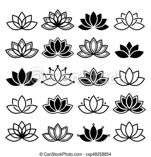 Flor Yoga Loto Resumen Colección Conjunto Vector Diseño