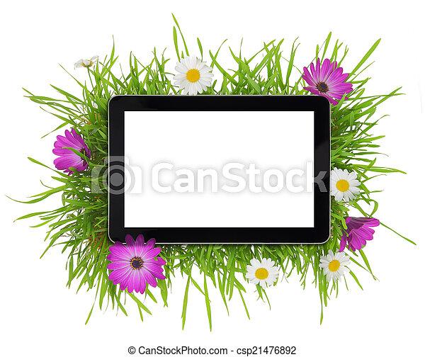 flora, tavoletta, schermo, circondato, vuoto, bianco - csp21476892