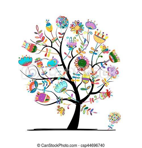 Floral árvore Desenho Seu árvore Ilustração Vetorial Floral