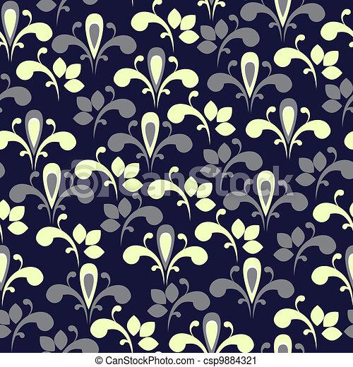 floral, élégant, seamless, fond - csp9884321