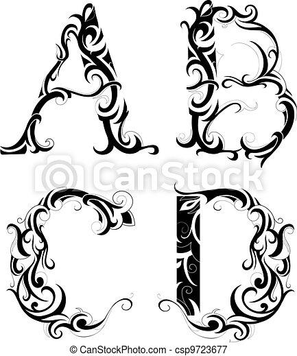floral abstração letras decorativo jogo isolado forma letra