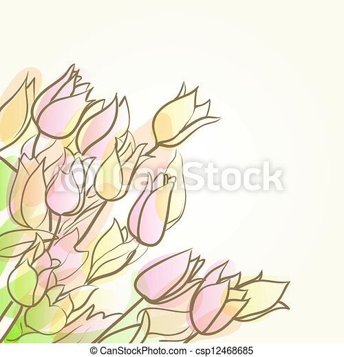 floral abstract background with tulips - csp12468685