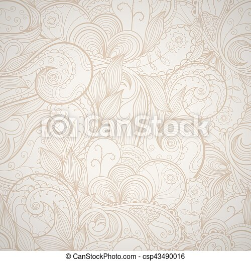 Floral abstract hand-drawn card. Vector seamless background. - csp43490016