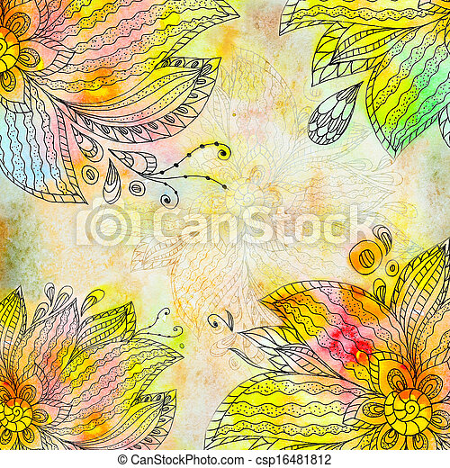 Floral abstract watercolor - csp16481812