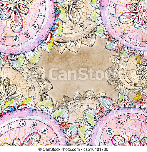 Floral abstract watercolor - csp16481780