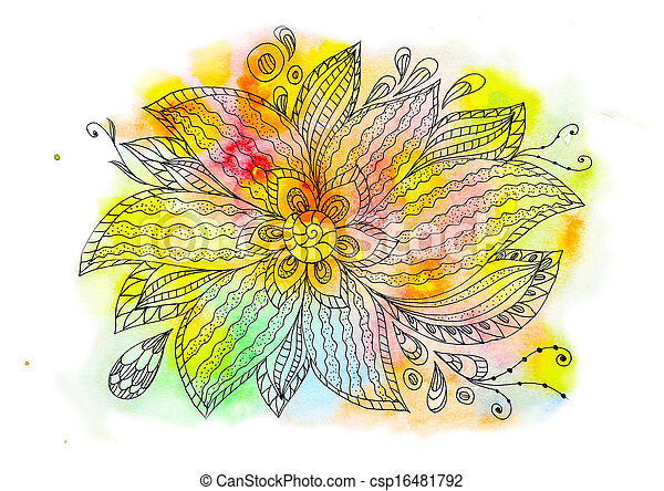 Floral abstract watercolor - csp16481792