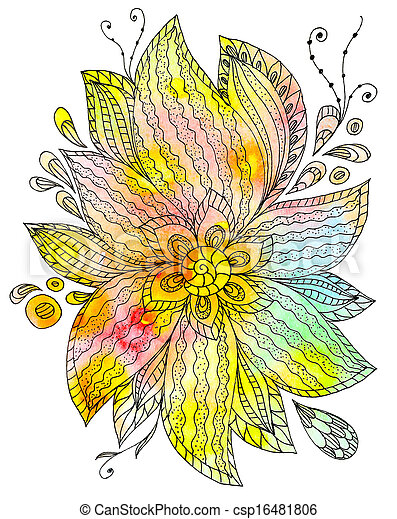 Floral abstract watercolor - csp16481806