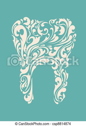 floral, abstratos, dentes - csp8814874