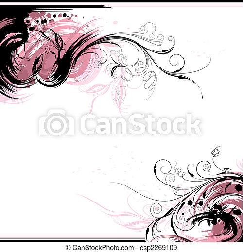 floral, achtergrond, inkt - csp2269109