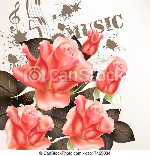 floral, achtergrond, mooi, rozen, vlinder - csp17465034