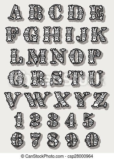 Un conjunto completo de letras de alfabeto floral - csp28000964
