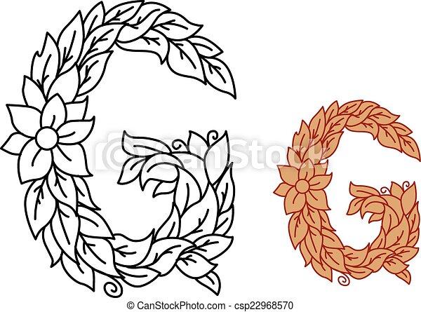 Floral, alfabeto, hojas, carta g. Bio, contorno, g, marrón, eco ...