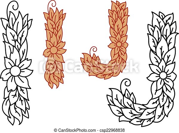 Floral, alfabeto, j, cartas, foliate. Marrón, conceptos, cartas ...