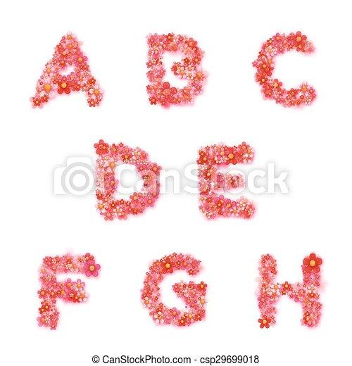 Vector Inglés alfabeto floral con - csp29699018