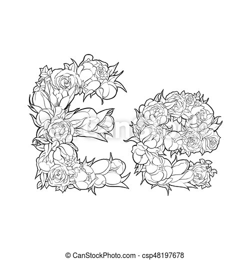 Floral Alphabet Letter E Black And White Alphabet With Flowers