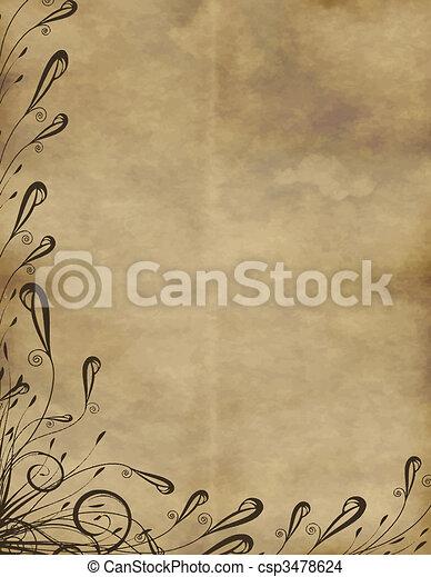 floral, antigas, pergaminho - csp3478624