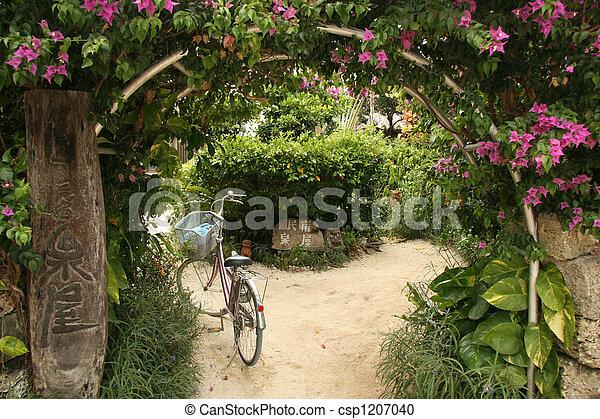 Floral Archway - Taketomi Island , Okinawa, Japan - csp1207040