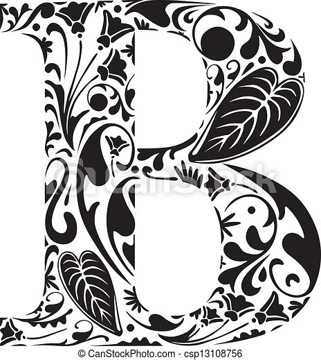 floral b floral initial capital letter b
